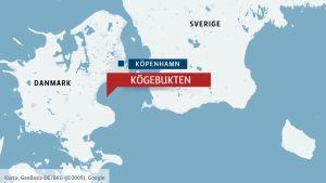 Karta över Danmark och Kögebukten.