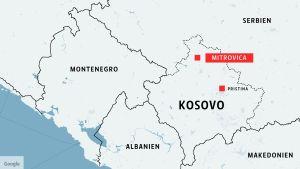 Karta över Kosovo med grannländer.