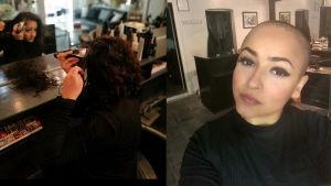 Till vänster en bild där Davini sitter i en stol i sin frisörsalong och rakar av sitt hår.  Till höger en bild där hon tittar in i kameran, utan hår på huvudet.