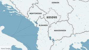 Karta över Balkan med Kosovo.