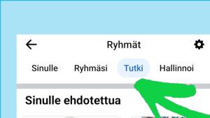 Kuvassa on listaus, jossa kaikki FB-ryhmät, joihin henkilö kuuluu