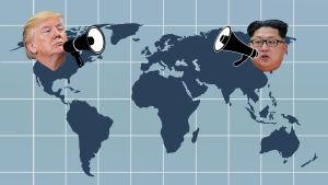 Bildcollage där Donald Trump och Kim Jong-un ropar till varandra med megafon över världskartan.