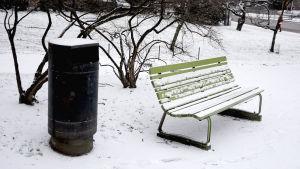 En parkbänk bredvid ett sopkärl i en park i Helsingfors.