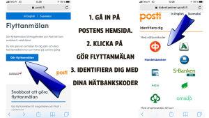 Instruktioner med bild hur du gör en flyttanmälan via Postens hemsida.