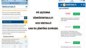 Kuvakaappaukset kahdelta eri sivustolta jossa voit vertailla sähköntoimittajien hintoja. Kuvassa näkyvät sivustot ovat vertaa.fi ja sähkövertailu.fi