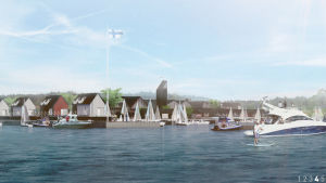En skiss där man ser villor byggda vid en brygga. Båtar ligger förtöjda vid bryggan.