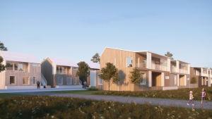 En skiss över ett bostadsområde där det finns flera radhus med träfasad.