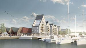 En skiss över ett bostadsområde vid havet. Flervåningshus med träfasad och framför ligger båtar förtöjda vid en brygga.