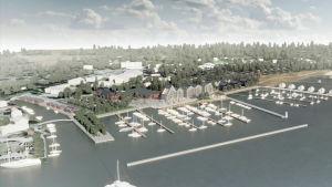 En skiss över det planerade bostadsområdet Ingåstrand. På skissen syns nya hus och båtbryggor.
