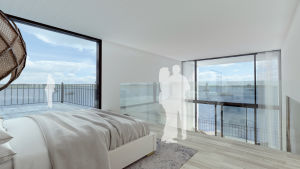 En skiss inifrån ett hus med stora fönster. Utanför skymtar havet.