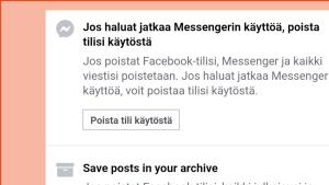 Näkymä, jossa voi lopettaa FB-tilin