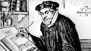 Albert Edelfeltin piirros Mikael Agricolasta kirjoituspulpettinsa ääressä.