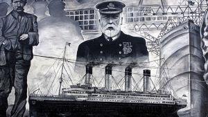 Titanic-aiheinen seinämaalaus Irlannissa.
