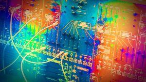 elektroninen äänisyntesoija, kytkentätaulu, käsitelty kuva