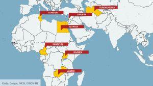 Världskarta med Turkmenistan, Tunisien, Libanon, Egypten, Kamerun, Uganda och Zambia.