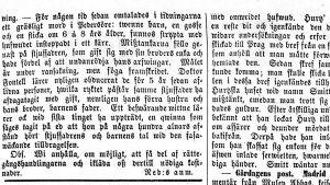 En gammal tidningsartikel från 1859. Skriven på gammal svenska med gamla bokstäver.