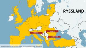 Karta över Natoländer och Ryssland.