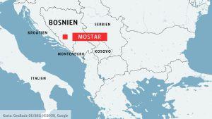 Karta över Bosnien med staden Mostar.