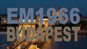 Budapest, Tonavan ylittävä Szechenyi-silta iltavalistuksessa (2010). Kuva: John Harper, Image Source/SKOY. Päälle lisätty teksti: EM1966 Budapest.
