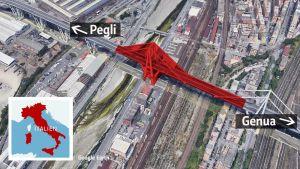 Bilden visar vilken del av en bro som rasade i Italien