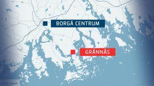 Karta över Grännäs och Borgå centrum
