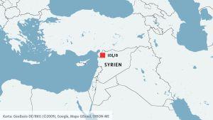 Karta över Idlib i Syrien