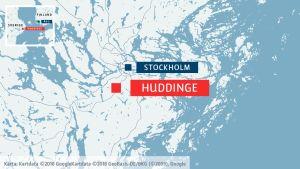 Karta över Stockholm och Huddinge.
