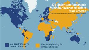 Karta över kvinnors möjligheter att utföra arbeten