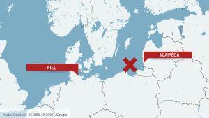 Karta över Östersjön med Kiel och Klaipėda.