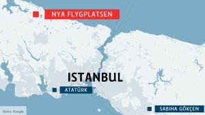 Karta över Istanbul och stadens flygplatser.