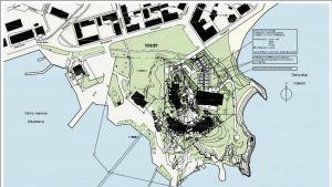 Plan ovanifrån på tillbygge av hotellbyggnad.