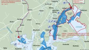 Karta över fiskevatten i Borgå.