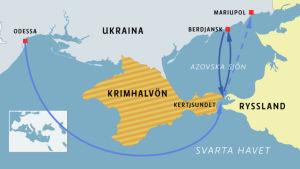 Karta över Kertjsundet och Krimhaövön.