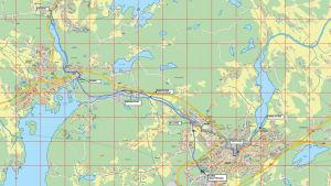 Karta över planerade friluftsleder i Raseborg. Leden märkt med blått går från Karis idrottspark till Fiskars, leden utmärkt med rött är ett svar på den senaste motionen och löper från idrottsparken via Pumpviken till Karis kyrka.