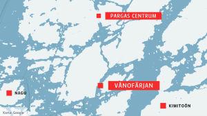 Karta över Vånofärjan, Pargas, Nagu och Kimitoön