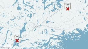 Karta som visar Veronicas bussfärd.