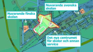 Karta som visar nuvarande svenska och finska skolan, samt det nya skol- och servicecentrumet i Svartå.