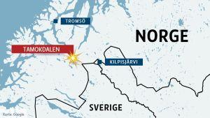Karta över Nordnorge och Tamokdalen.