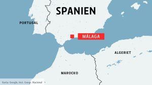 Karta över Spanien och Málaga.