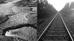 Bildcollage av en gropig asfaltväg och en tågräls.