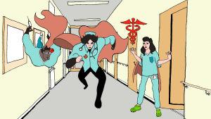 Illustration av superhjältar som är vårdare
