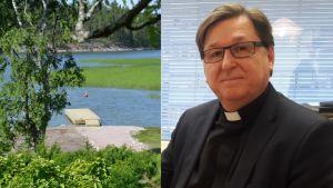 Brygga vid strand och kyrkoherde Martin Fagerudd.
