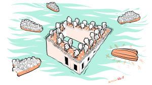 bild av flyktingbåtar och europa som fästning