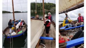 Elever i Skärgårdshavets skola bekantar sig me allmogebåtar.