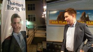 Riksdagsvalet 2019: Thomas Blomqvist (SFP) på sin valvaka i Ekenäs.