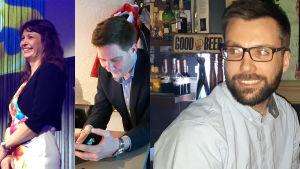 Västnylands tre riksdagsledamöter, Riikka Slunga-Poutsalo (SANNF), Thomas Blomqvist (SFP) och Johan Kvarnström (SDP)