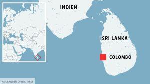 Sri Lankas huvudstad Colombo på en karta.