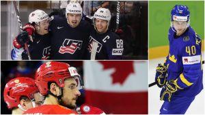 Alex DeBrincat, Chris Kreider och Patrick Kane i USA. Ryssen Artjom Anisimov och svensken Elias Pettersson.