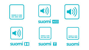 Kokoelma symboleista Ylen ohjelmissa ja verkkosivuilla. Ylärivissä tekstityksen, kuvailutulkkauksen sekä ääni- ja kielivaihtoehtojen symbolit. Alhaalla dolby 5.1 -äänen, suomenkielisen ohjelmatekstityksen ja suomeksi käännetyn tekstityksen symbolit.