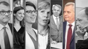 Juha Sipilä, Li Andersson, Sari Essayah, Anna-Maja Henriksson, Pekka Haavisto, Antti Rinne och Jussi Halla-aho.